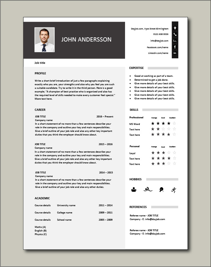 Effective 1 page CV template