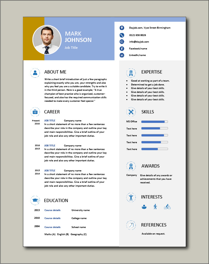 Multi colored CV template