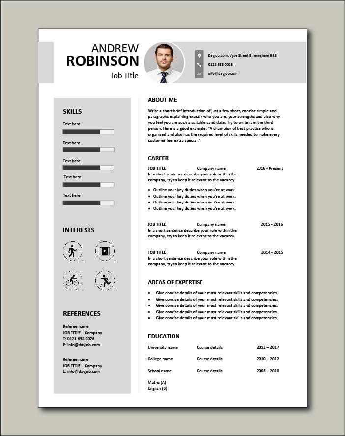 Photo CV template