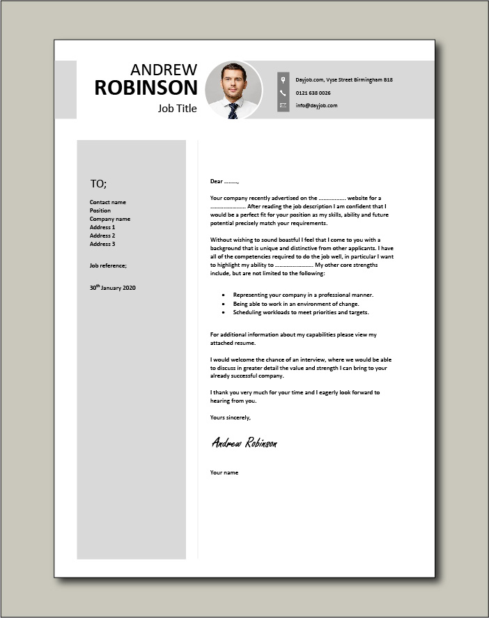 photo cover letter example