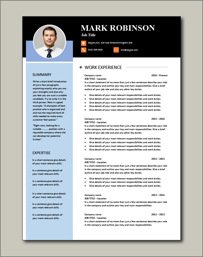 Modern two page CV template
