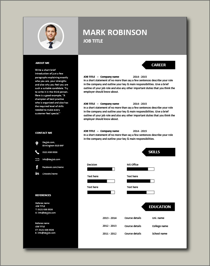 Superb CV template ideal for any job