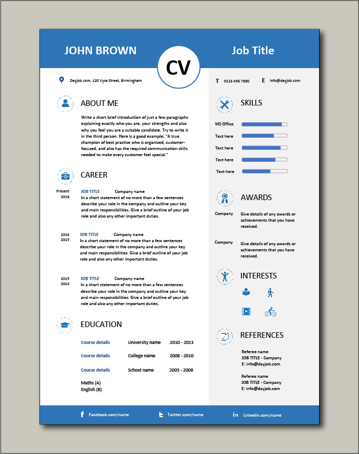 Visually appealing CV template from Dayjob.com