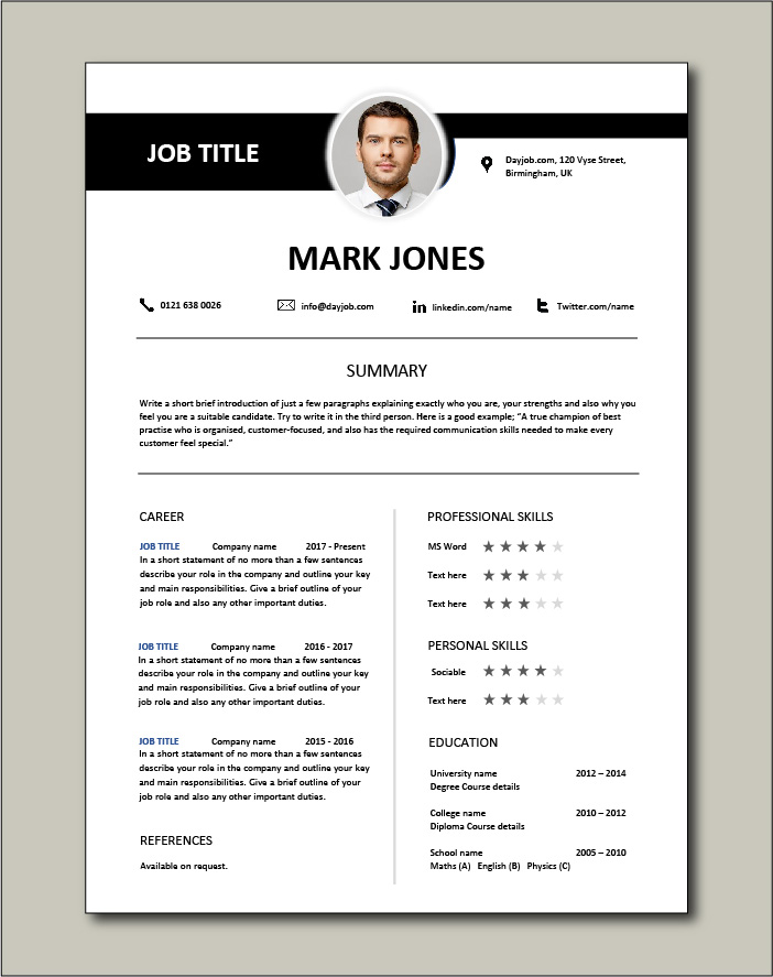 CV template to make a lasting impression