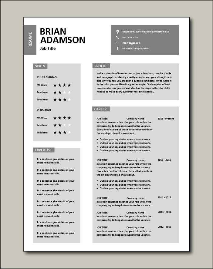 CV template that uses boxes to arrange a job seekers career