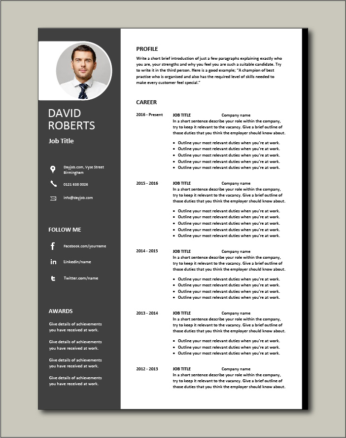 CV template with minimalist design