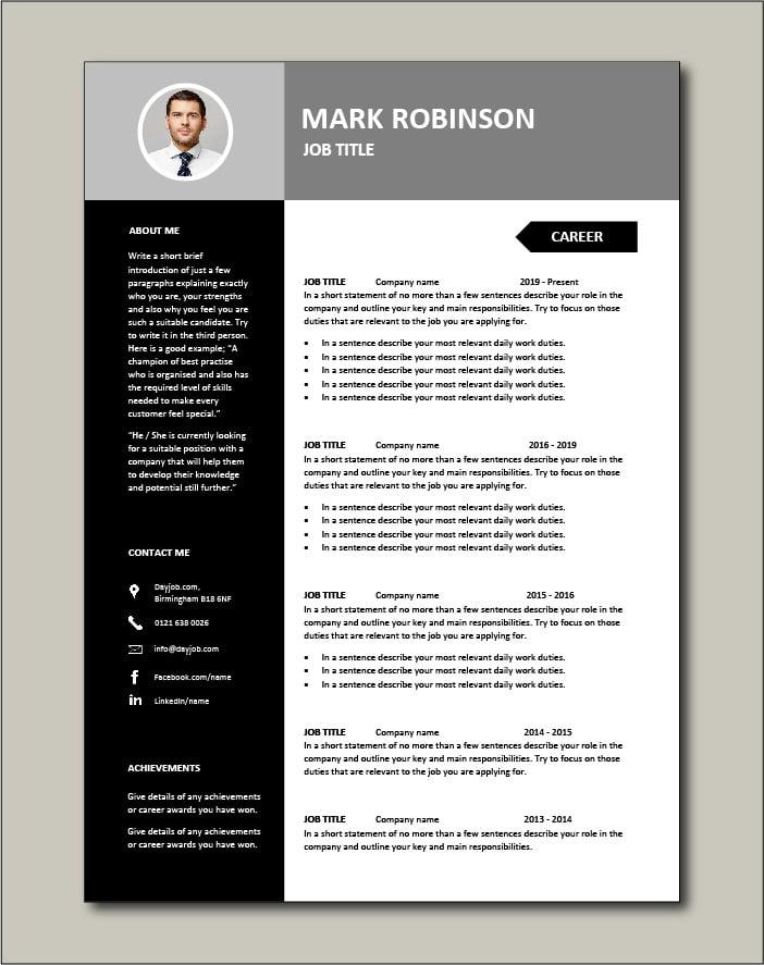 Good resume template ideal for any job application Dayjob.com