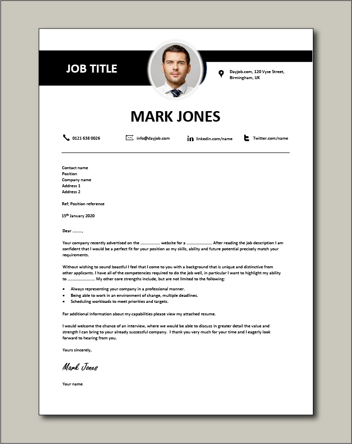 Matching cover letter example