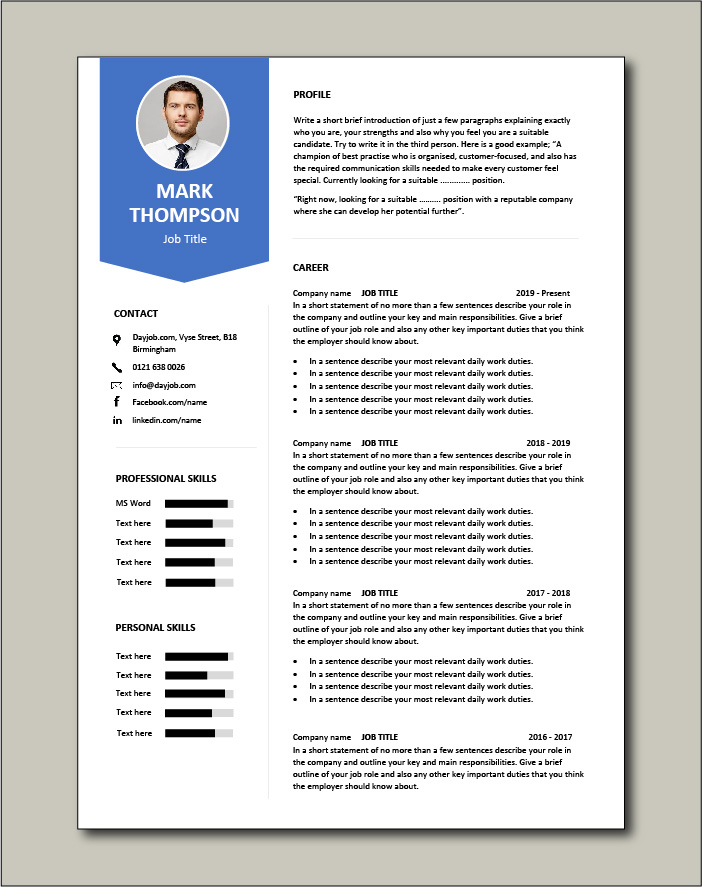 Minimalist design CV template