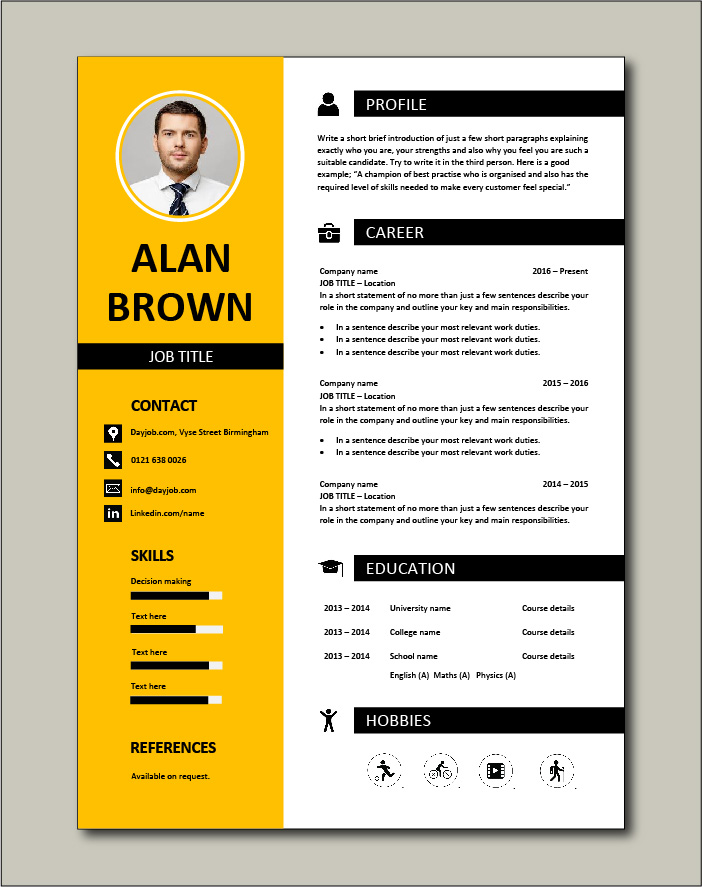 Premium CV template 26 - 1 page version