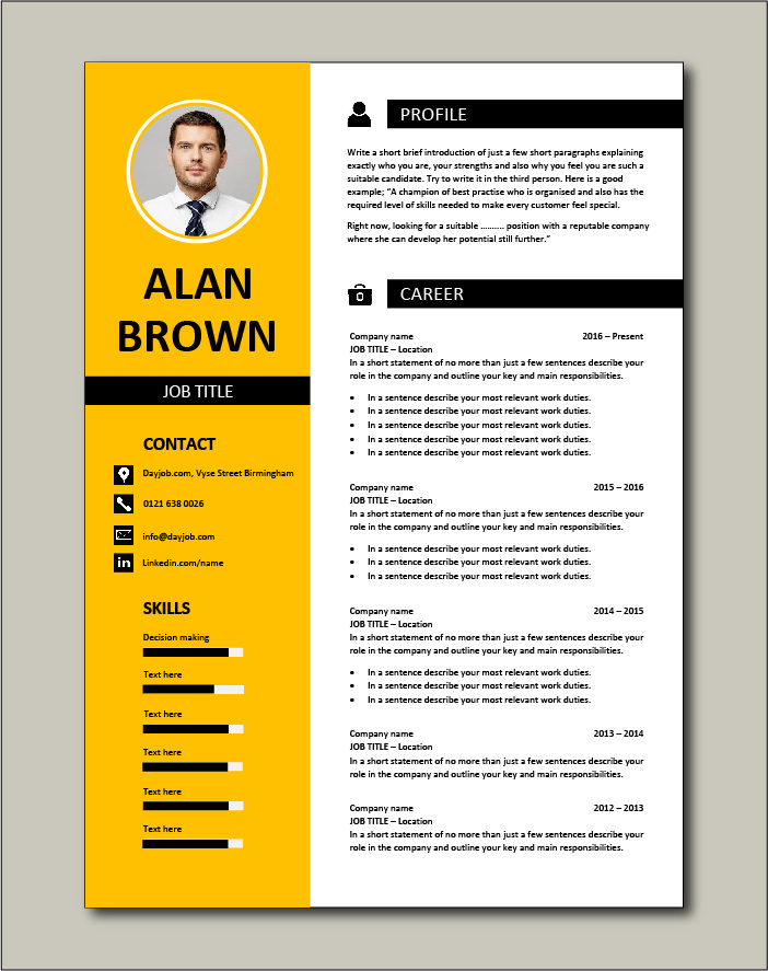 Premium CV template 26 - 2 page version