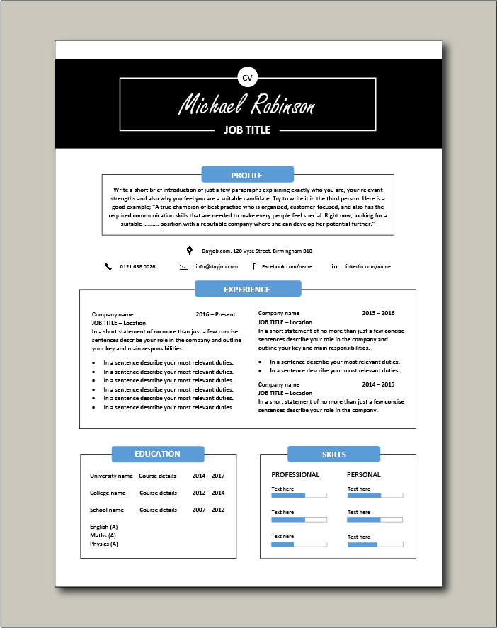 Premium CV template 27 - 1 page version