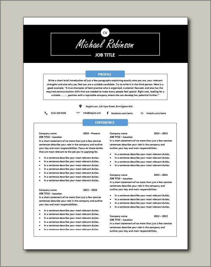 Premium CV template 27 - 2 page version
