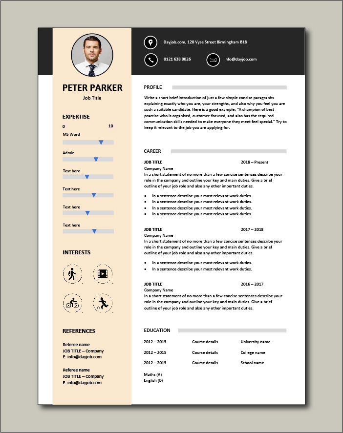Premium CV template 28 - 1 page version