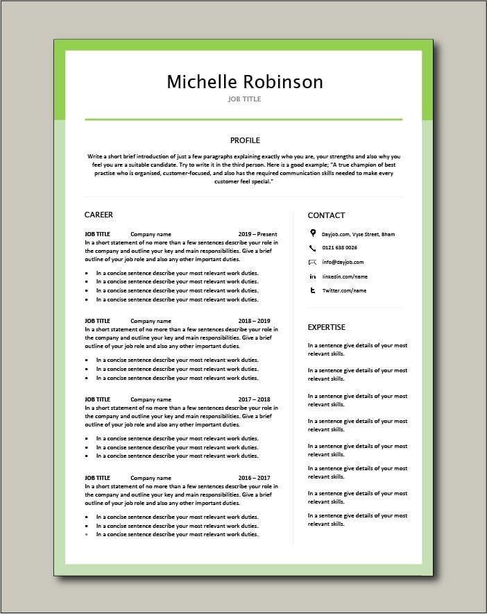 Premium CV template 29 - 2 page