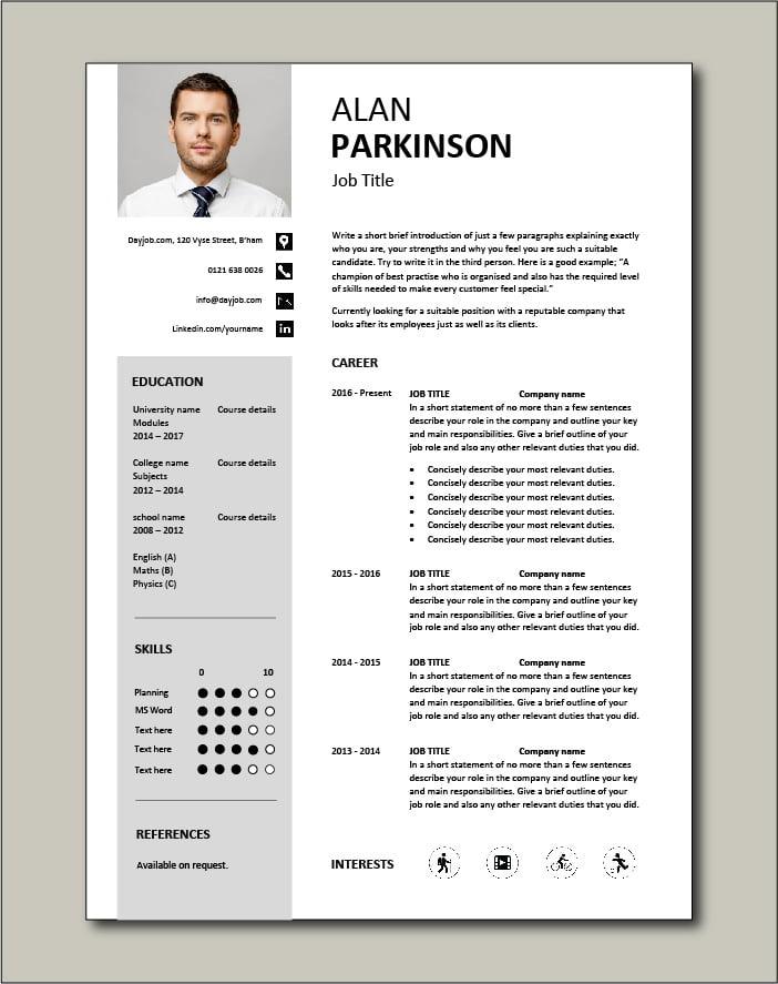 Premium CV template 32 - 1 page version