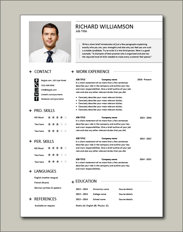 Premium CV template 35 - 1 page version