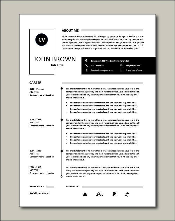 Premium CV template 36 - 1 page version