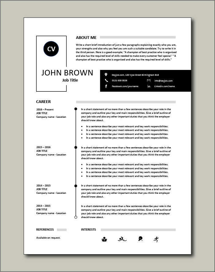 Premium CV template 36 - 1 page version