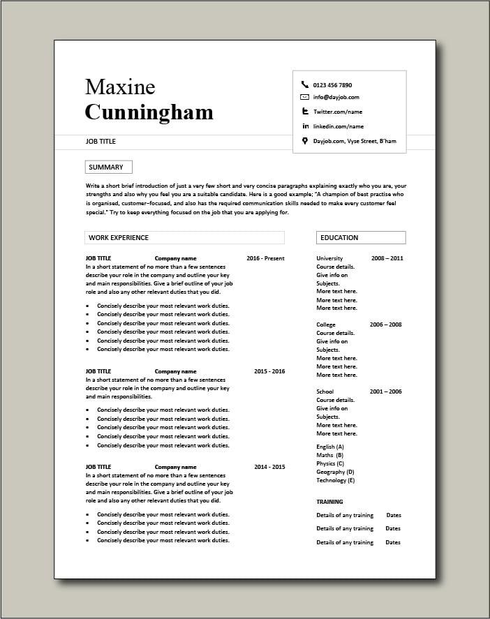 Premium CV template 41 - 2 page version