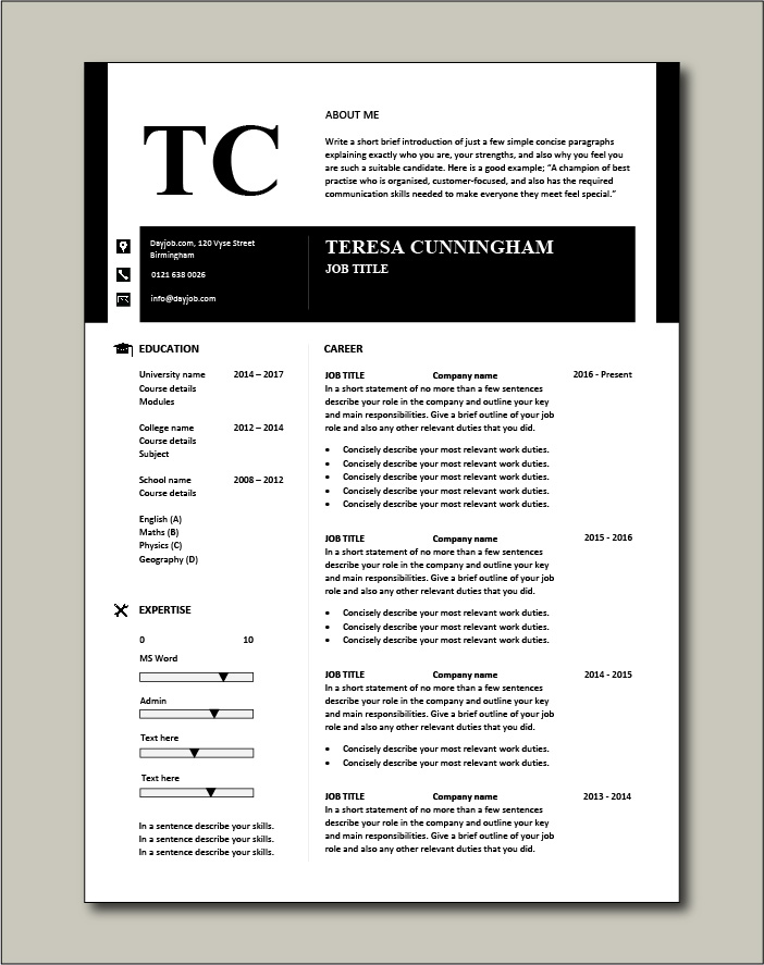 Premium CV template 44 - 1 page version