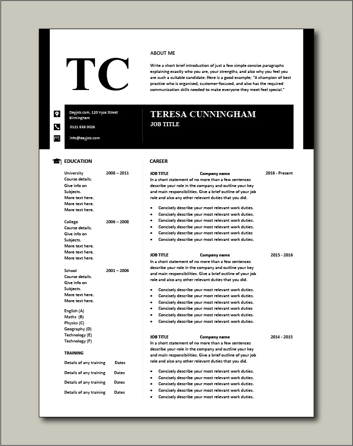 Premium CV template 44 - 2 page version