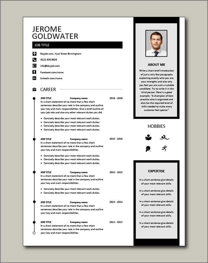 Premium CV template 47 - 2 page version