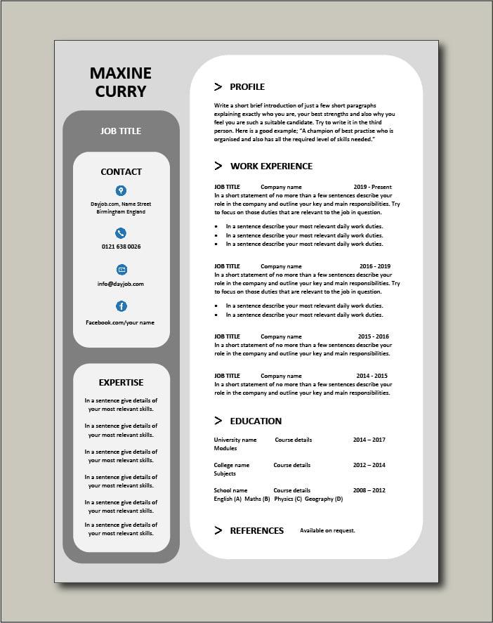 Premium CV template 49 - 1 page version