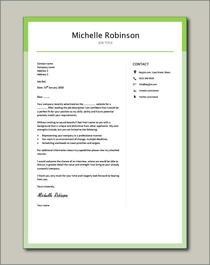 Premium template 29 - cover letter