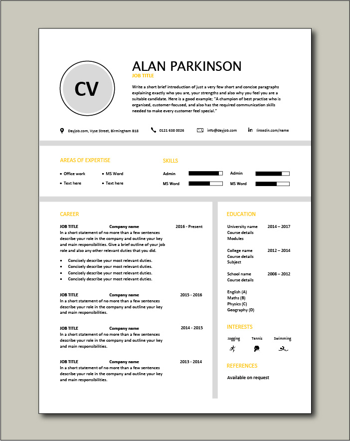 Premium template 38 - 1 page