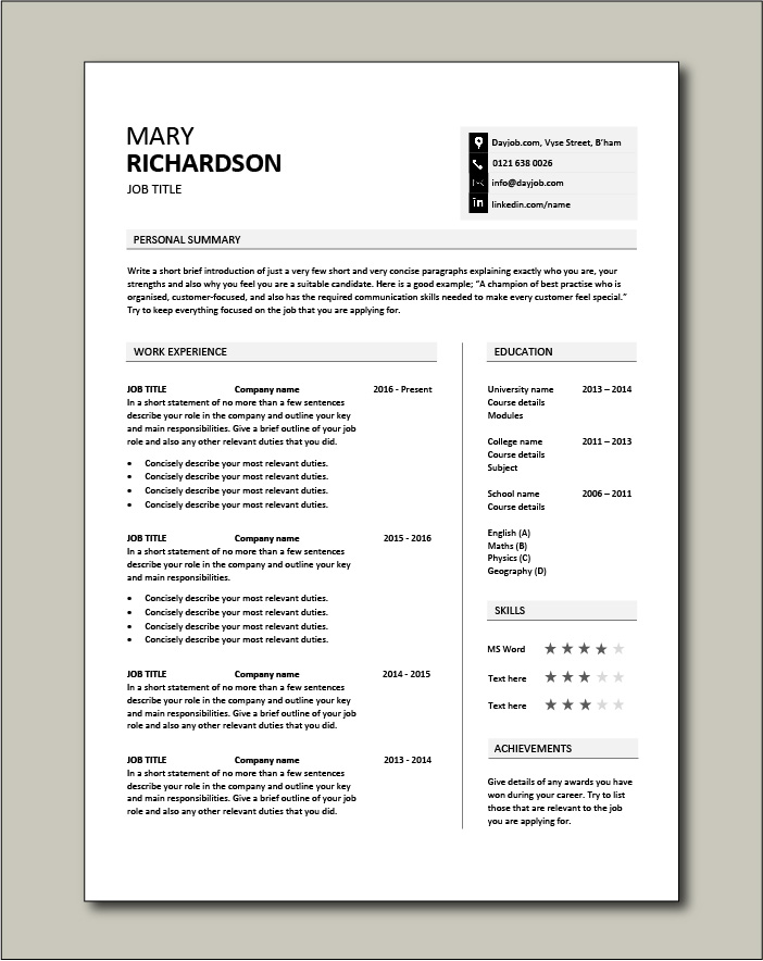 Premium template 39 - 1 page