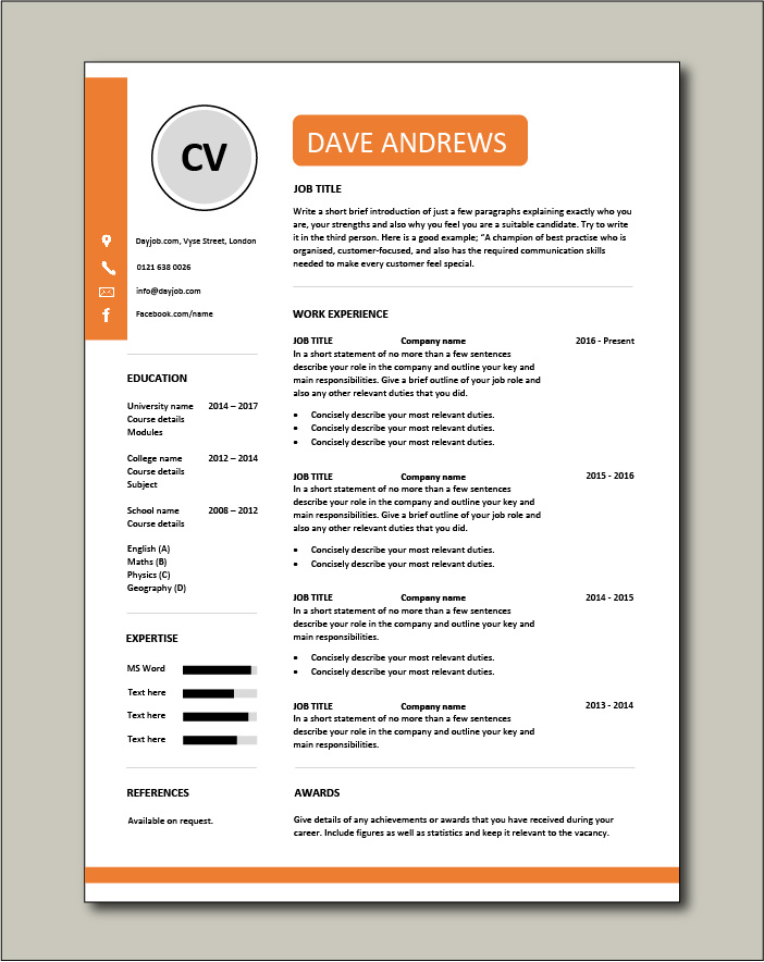 Premium template 42 - 1 page