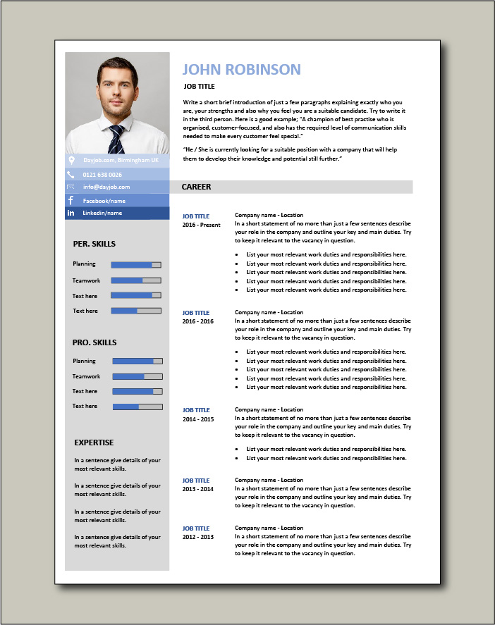 Resume template suitable for all jobs