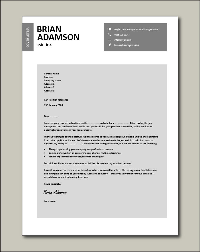 Well written cover letter template