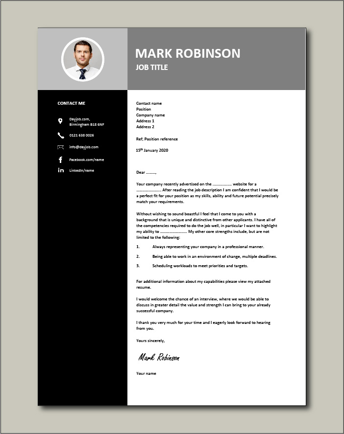 Winning cover letter example