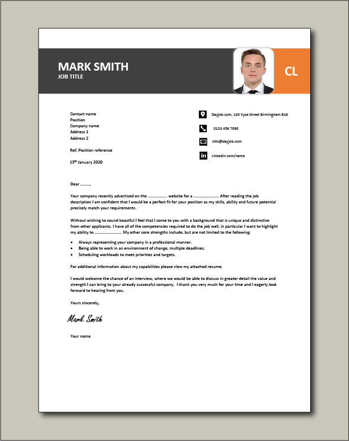 cover letter template with lots of room