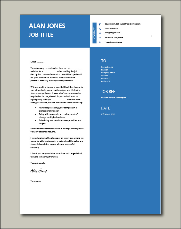 cover letter with unique blue layout