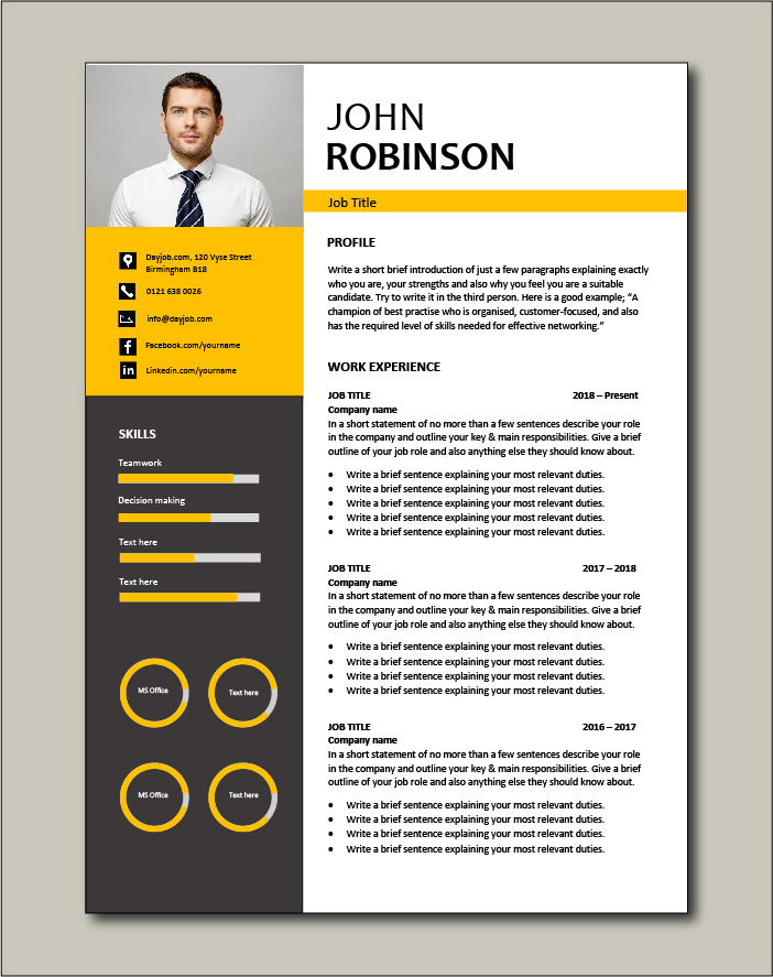 outstanding CV template with a yellow theme