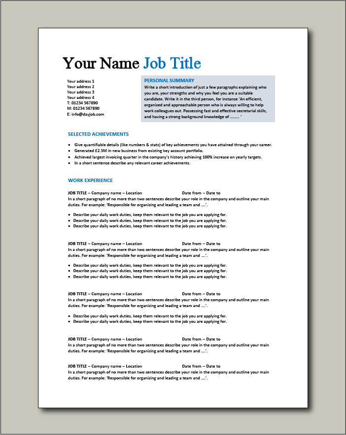 CV template 1 - 2 page