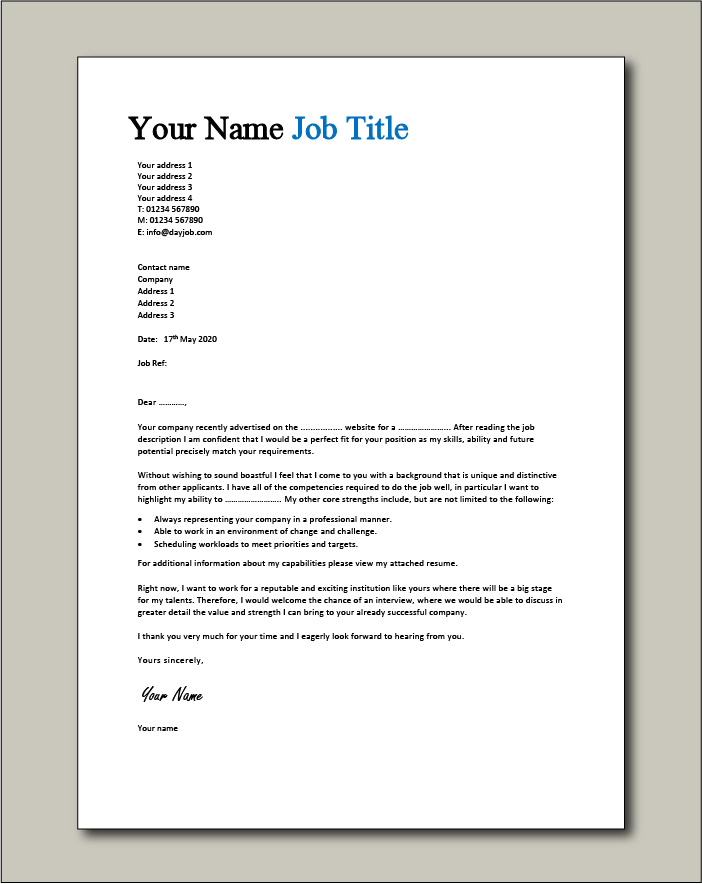 CV template 1 cover letter