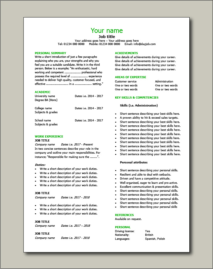 CV template 10 - 1 page