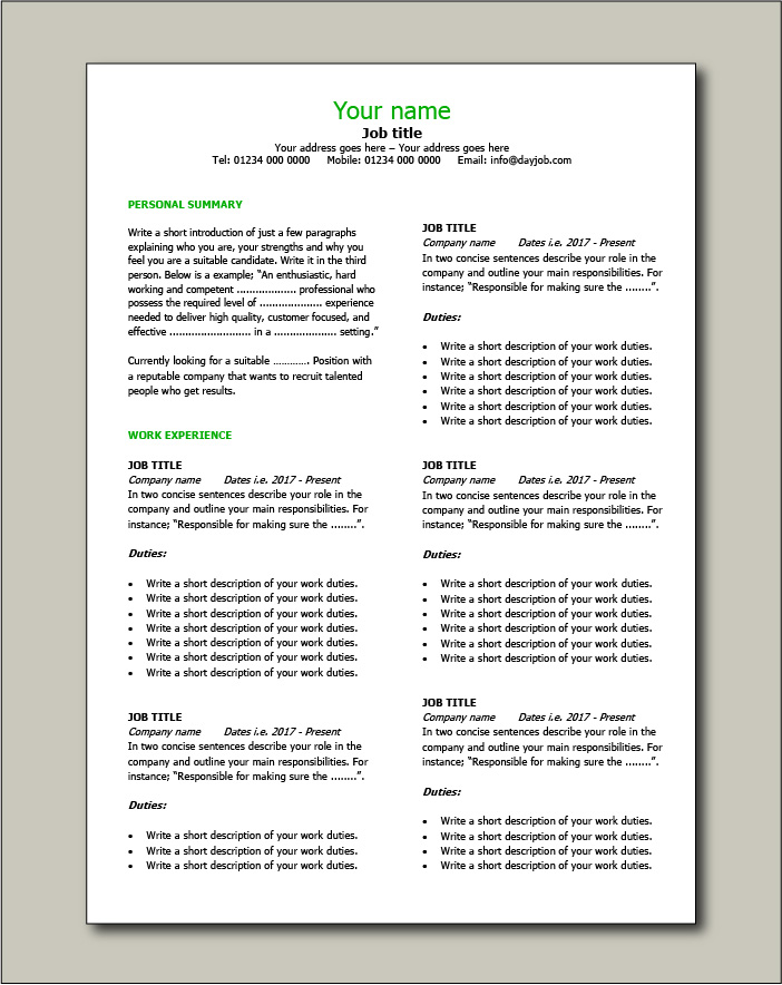CV template 10 - 2 pages