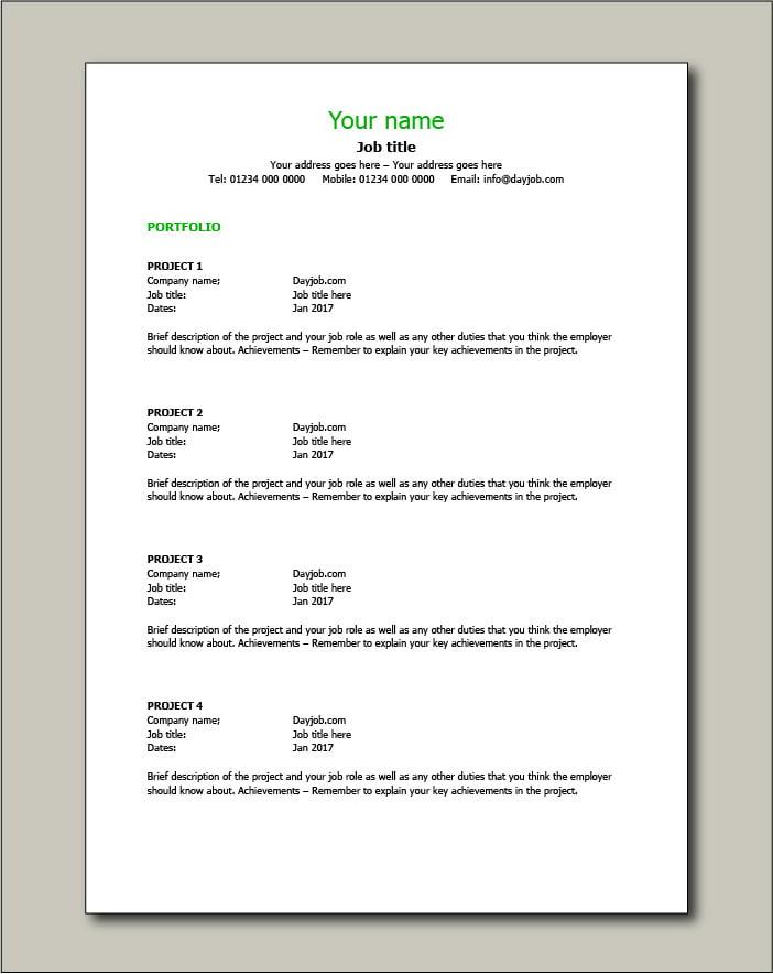 CV template 10 - Portfolio