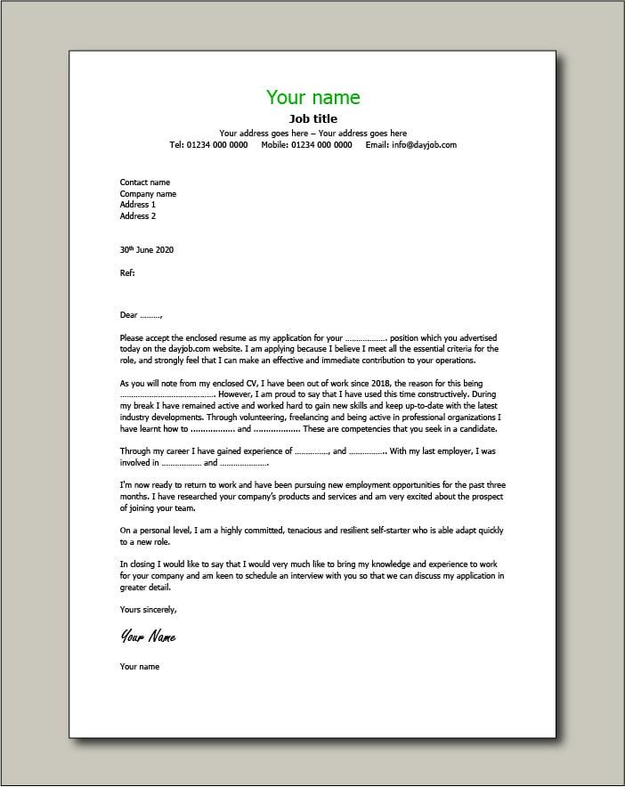 CV template 10 - cover letter
