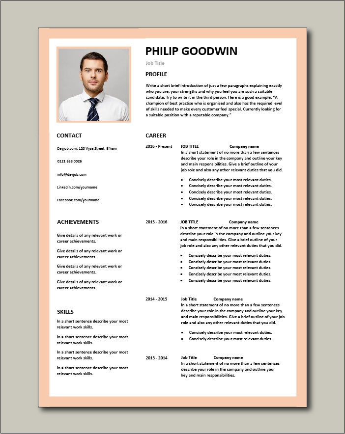 CV template 11 - 2 page