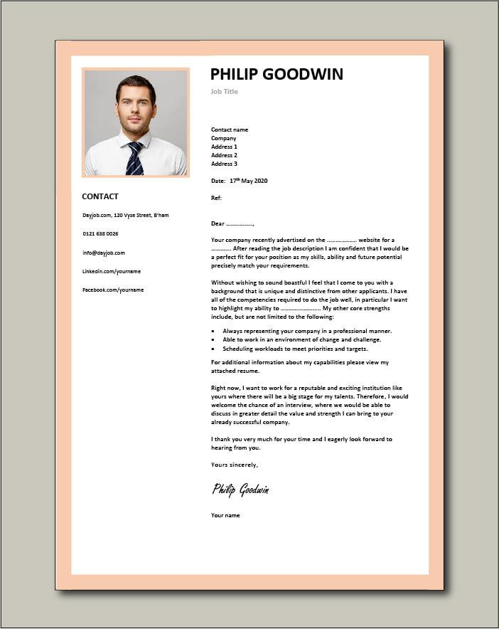 CV template 11 - Cover letter