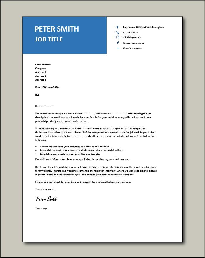 CV template 12 - cover letter