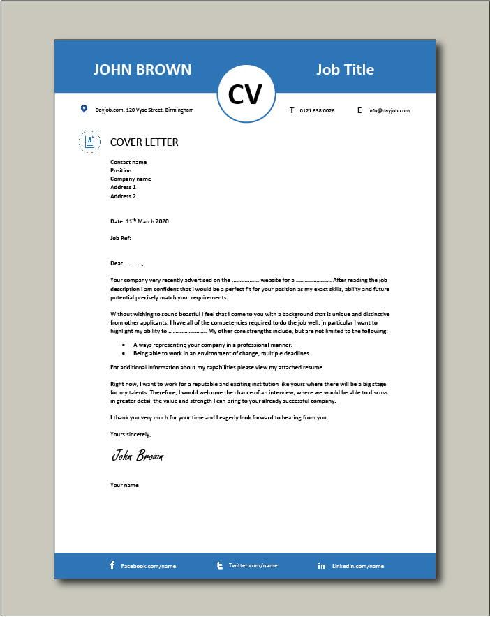 CV template 13 - Cover letter