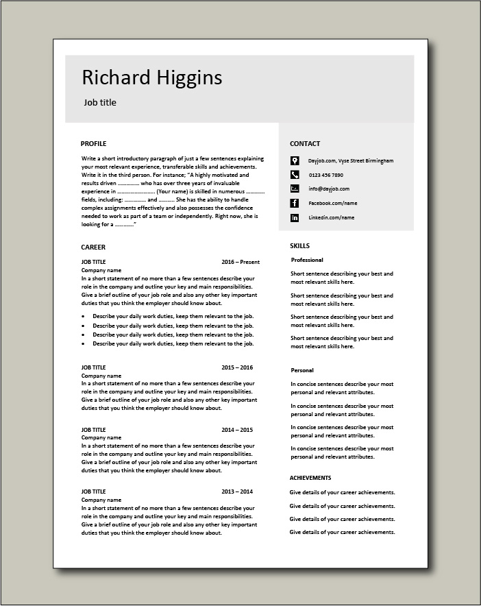 CV template 14 - 2 page