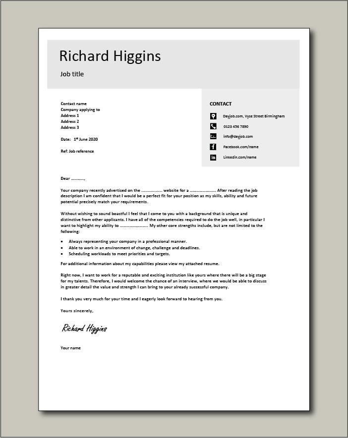 CV template 14 - Cover letter